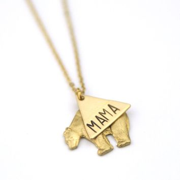 Peachtree Lane - Mama Bear Layer - Brass Stamped Necklace