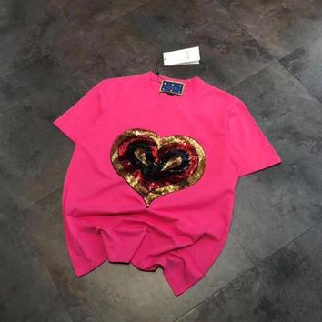 """Gucci"" Women Casual Fashion Multicolor Sequin Love Heart Embroidery Letter Print Short Sleeve T-shirt Top Tee"