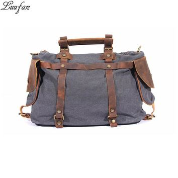 New Fashion canvas shoulder bags laptop men women casual durable leather tote work bags large luggage travel bag