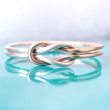 Two Tone Double Love Knot Ring, Hug Infinity Ring, Gold and Silver Tie the Knot Ring, Sailor Knot Ring, Celtic Knot Ring, Lovers Knot Ring