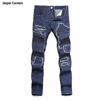 Men outside the big hole embroidery patch Slim straight jeans personality back pocket men's denim trousers 65h