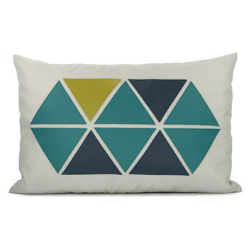 Geometric pillow cover Apple green teal and by ClassicByNature