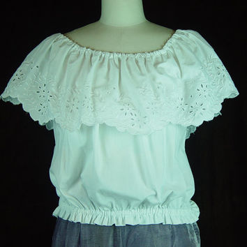 70s White Eyelet Peasant Top Off Shoulder Elastic Waist Shawl Collar 2 4
