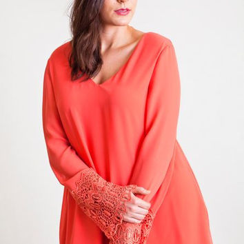 UMGEE PLUS DRESS - Lace Bell Sleeve V Neck Chiffon Dress - XL, 1XL, 2XL- DUSTY ROSE