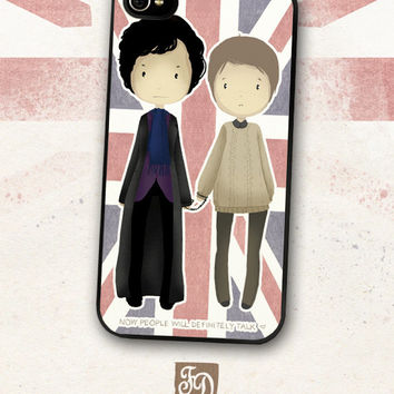 Iphone 4 / 4s hard or rubber case cute SHERLOCK Holmes , John Watson , Johnlock Union Jack