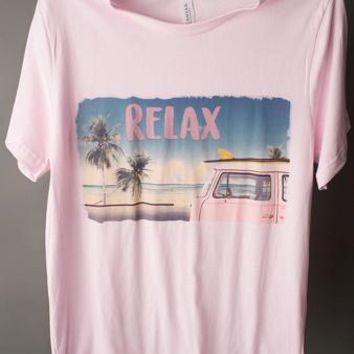 "Gina ""Relax"" Pink Crew Neck Tee"