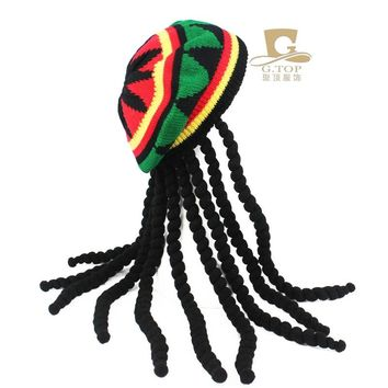 Fancy Dress Party Costume Hippie beret Dreadlocks Wig jamaican rasta knit hat Bob Marley Caribbean Fancy Dress Prop