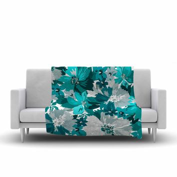"Mmartabc ""Turquoise Blossoms"" Blue Gray Illustration Fleece Throw Blanket"
