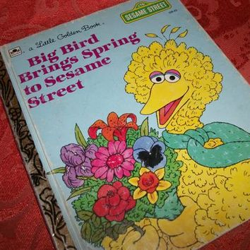 Big Bird Brings Spring to Sesame Street Jim Henson Muppets Vintage 1985 Little Golden Book FREE SHIPPING