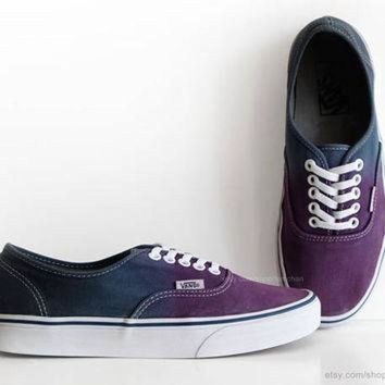 ONETOW Dip dye Vans Authentic, purple, navy blue ombr¨¦ tie dye, skate shoes, upcycled vintage