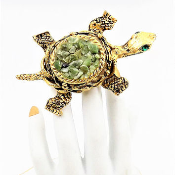 Jadeite Chip Turtle Brooch, Gold Tone, Green Rhinestone Eyes, Vintage Brooch