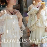 Alice in the Wonderland Chiffon Lace Dreamy  Dress  Bridesmaid Top