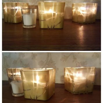 Gold Hand-Decorated Votive Holders