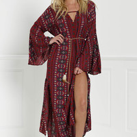 """Free People"" Fashion Retro Totem Print V-Neck Long Sleeve Pagoda Sleeve Split Maxi Dress"