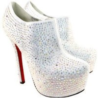 My Associates Store - Womens Silver Diamante High Stiletto Heel Ankle Shoe Boots