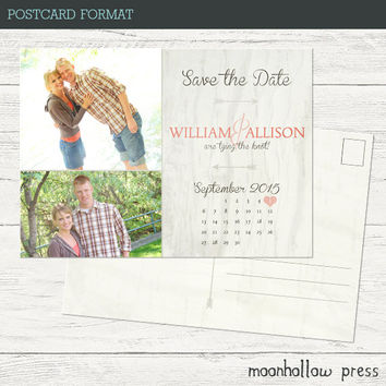 Rustic Calendar Save the Dates 5x7""