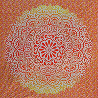 Fairdecor Red Yellow Orange Ombre with Leaf Multi Shaded Mandala Indian Dorm Decor Psychedelic Tapestry Wall Hanging Ethnic Decorative Ombre Tapestry