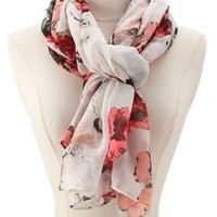 Floral Print Wrap Scarf by Charlotte Russe - Ivory Combo