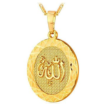 """""""Allah"""" God Almight Arabic Script Pendant Medallion Necklace in 18K Gold Plated"""