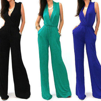 Women Sexy Elegant Celeb Style Wide Leg Long Palazzo Pants Suit Jumpsuit