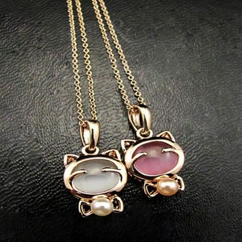 Gold Tone Lucky Cat Cat's  Eye Stone with Pearl Inlay Pendant Necklace 2 Colors