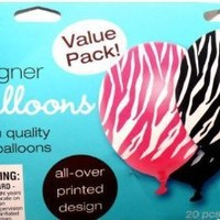 20 Pink Black White Zebra Stripe Balloon