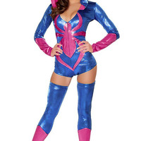 Pink and Blue Hooded Long Sleeve Mini Jumpsuit Spider Costume