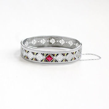 Antique Art Deco Filigree Ruby Pink Stone and Enamel Bracelet - Vintage 1920s Silver Tone Glass Wide Hinged Bangle Jewelry R&G Co.
