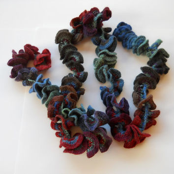 Scarf Crochet Handmade in Greens. Blues and Reds. Ready to ship