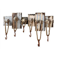 Coastal Cape Cod Beach Cottage Hook Board - Distressed Hanger Board - 32-1/2-in Wood Wall Decor with 7 Hooks