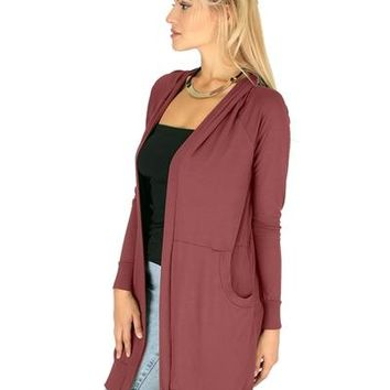 RED-BROWN- LONG-LINE HOODED CARDIGAN WITH POCKETS RC1124