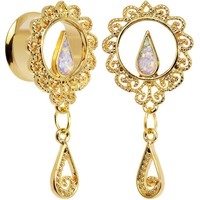 "9/16"" White Faux Opal Gold Anodized Ornate Dangle Tunnel Plug Set"