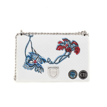 White Floral Leather Purse