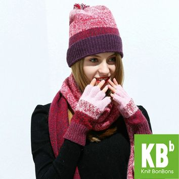 2017 KBB Women Scarf Hat Set Red Knitted Wool Lambswool Female Women's Scarves Tippet Gloves With Beanie Hats Cap For Winter