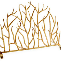 "30"" Decorative Twig Fire Screen, Gold, Fireplace Screens"