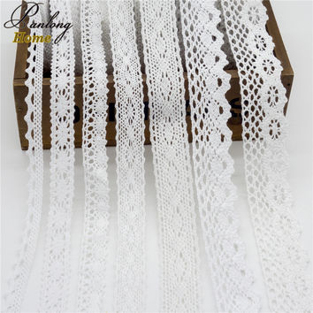 5yds/lot New High Quality Beige/White Cotton Lace Fabric Embroidered Trims Ribbon For DIY Bridal Sewing Wedding Clothes