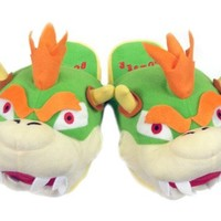 Mario Bro: Pair of Plush Slippers - King Bowser