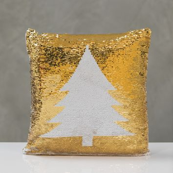 "18""x18"" Reversible  Sequin Xmas Tree Pillow - White/Gold"