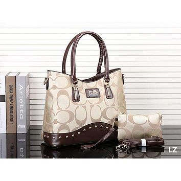 COACH Trending Ladies Stylish Shopping Bag Leather Handbag Shoulder Bag Two Piece Apricot I-MYJSY-BB
