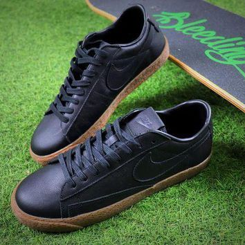 ESBON6GS Nike Blazer Sb GT Black Genuine Leather Women Men Skateboarding Causel Sports Sneaker Shoes