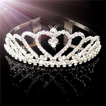 DCCKIX3 Bride/Bridesmaid/Princess/Girl Tiara Crown Headband with Comb