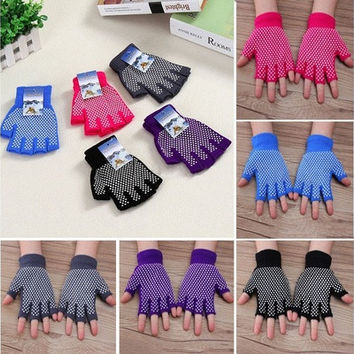 Simple Yoga Fingerless Non Anti Slip Grip Sticky Gloves Sport Exercise Equipment [8069648519]