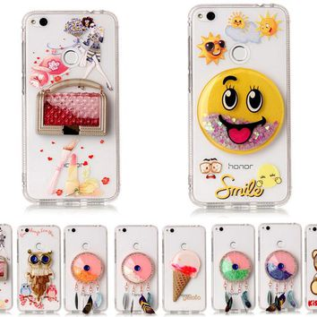 3D Cartoon Flowing Liquid Phone Case for Huawei P8 Lite 2017 Bling Diamond Glitter Star Hello kitty TPU Cover for Huawei P10Lite