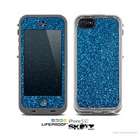 The Blue Sparkly Glitter Ultra Metallic Skin for the Apple iPhone 5c LifeProof Case