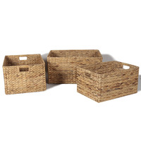 Adeco Multi-Purpose Seagrass Woven Baskets with Handles, Rectangular, Home Decor, Set of 3