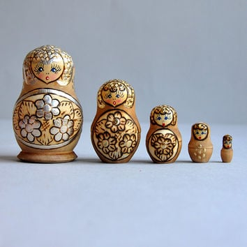 Matryoshka Russian Nesting Dolls  Silver Leaf  Set by MisterTrue