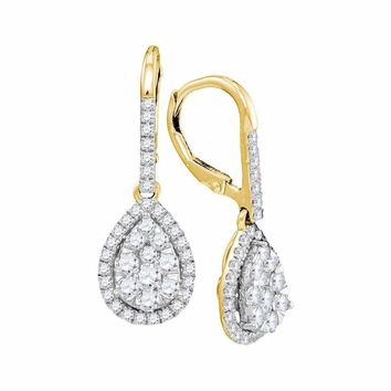 14kt Yellow Gold Women's Round Diamond Leverback Teardrop Dangle Earrings 1-3-8 Cttw - FREE Shipping (USA/CAN)