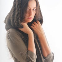 Hooded scarf, brown golden winter long scarf, hooded cabled winter alpaca scarf, extra long knitted scarf, for lady girl women accessories.