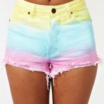 Pastel Rainbow Shorts High Waisted Dyed Denim Frayed Jean Shorts by ShortestApparel