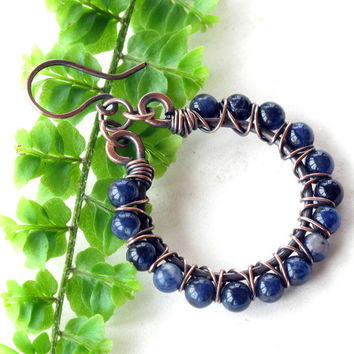 Beaded hoop earrings - denim blue stone beads copper wire wrapped